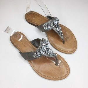 Antonio Melani Pewter Leather Jeweled Sandals
